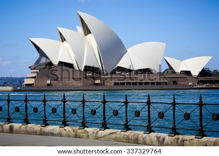 SYDNEY, AUSTRALIA, 26 SEPTEMBER 2014 - Sydney opera house. Iconic and world famous landmark of Australia - stock photo