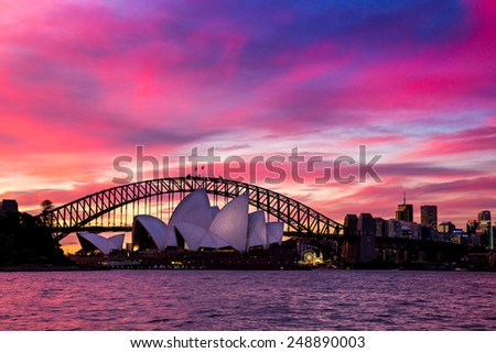 Sydney, Australia - September 21: The Sydney Opera House at sunset in Sydney, Australia on September 21, 2014.