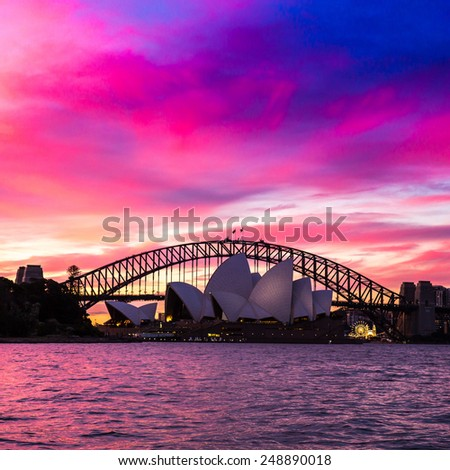 Sydney, Australia - September 21: The Sydney Opera House at sunset in Sydney, Australia on September 21, 2014. - stock photo