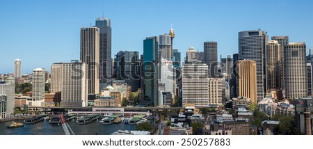 Sydney, Australia - September 21: View of the CBD skyline in Sydney, Australia on September 21, 2014.