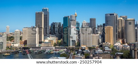 Sydney, Australia - September 21: View of the CBD skyline in Sydney, Australia on September 21, 2014. - stock photo
