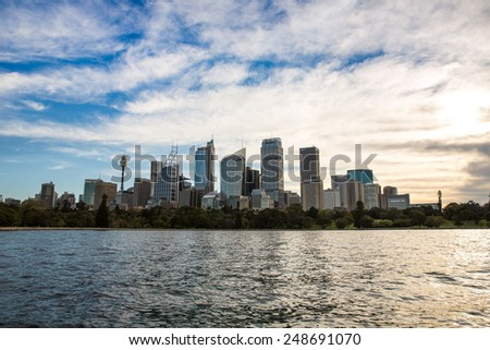 Sydney, Australia - September 19: View of the Central Business District in Sydney, Australia on September 19, 2014. - stock photo