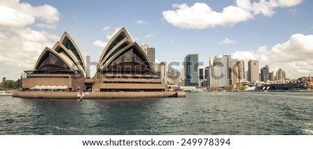 Sydney, Australia - September 21: View of the Opera House, an iconic landmark in Sydney, Australia on September 21, 2014.