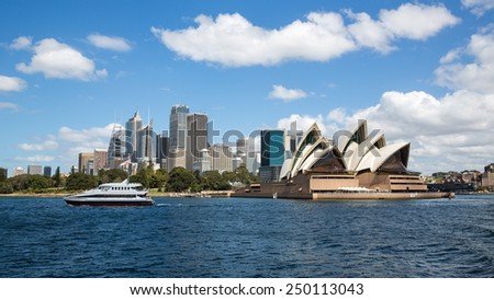 Sydney, Australia - September 19: View of the Opera House, an iconic landmark in Sydney, Australia on September 19, 2014.