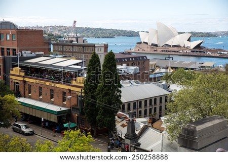 Sydney, Australia - September 22: View of the Rocks area in Sydney, Australia on September 22, 2014. - stock photo