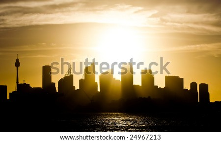 Sydney Australia skyline at sunset - stock photo