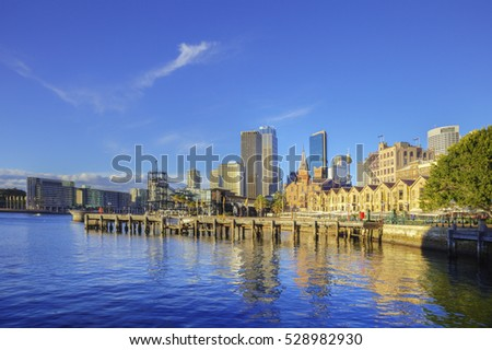 Sydney, Australia, with Circular Quay and The Rocks.