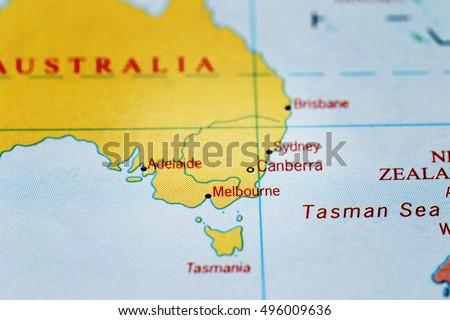 Sydney Canberra Melbourne On Map Australia Stock Photo 496009636