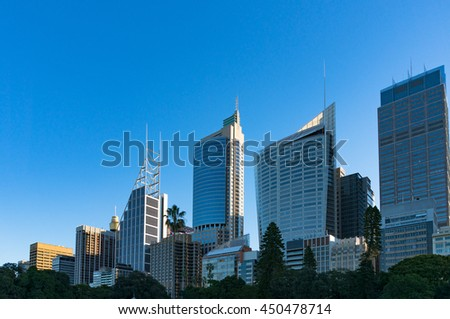 Sydney Central Business District skyline viewed from the Domain. Downtown skyscrapers of Sydney city with copy space. New South Wales, Australia - stock photo