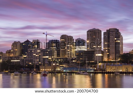 Sydney City Building during Sun Rise - viewd from Blue points - stock photo