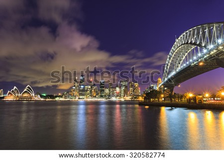 Sydney city CBD in Australia as twilight from across the Harbour with Bridge and skyscrapers landmarks