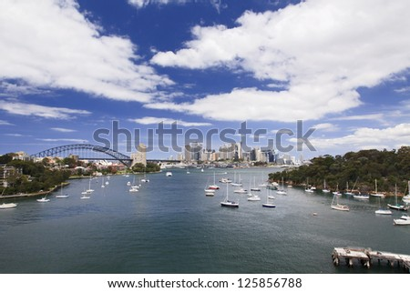 sydney city CBD view from Waverton day summer cloudy sky and blue boats in harbour