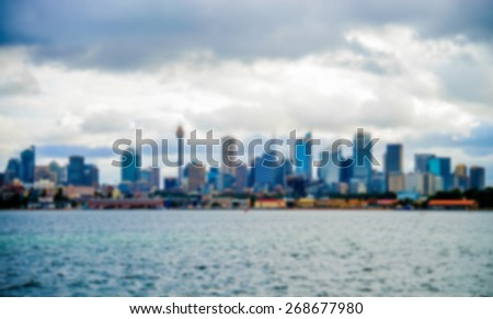 Sydney city in Australia in Blur style - stock photo
