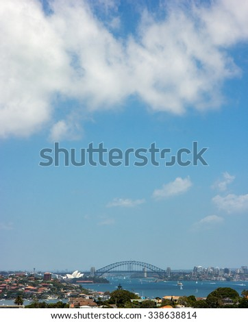 Sydney City Skyline Aerial View Vertical Cityscape under Clear Blue Sky in Summer, New South Wales, Australia - stock photo