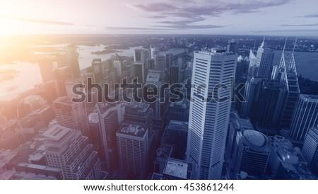 Sydney city skyline evening - stock photo