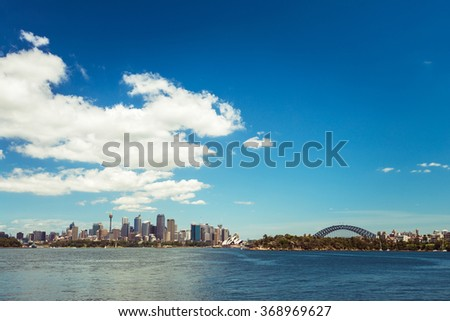 Sydney city skyline on a bright day. Color tonong effects applied