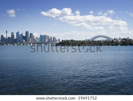sydney city skyline with sydney harbour bridge