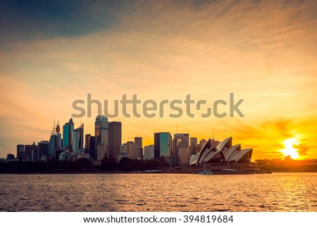 Sydney city view at sunset, NSW, Australia. Cross-processing and color toning effects applied - stock photo
