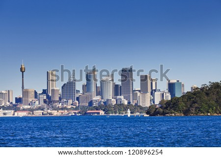 Sydney city view from harbour waters cityscape of australia landmarks summer day time with middle head park area