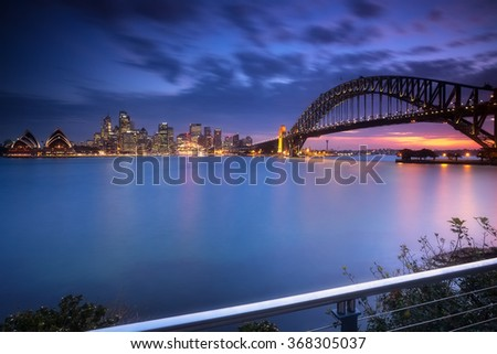 Sydney cityscape view at night