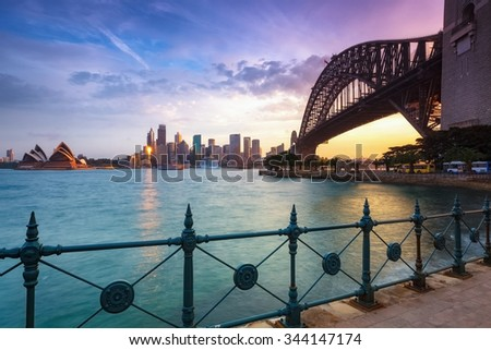 Sydney cityscape view at sunset - stock photo