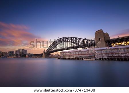 Sydney cityscape view at twilight - stock photo