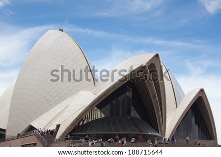 SYDNEY - DECEMBER 15: Sydney Opera House view on December 15, 2011 in Sydney, Australia. The Sydney Opera House is a famous arts center. It was designed by Danish architect Jorn Utzon, - stock photo
