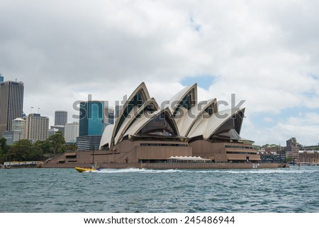 SYDNEY - December 26: The Iconic Sydney Opera House is a multi-venue performing arts centre also containing bars and outdoor restaurants. December 26, 2014 in Sydney, Australia. - stock photo