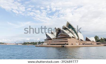 Sydney - February 27, 2016: Beautiful Sydney Opera House with an unusual roof, with views of the Gulf, February 27, 2016, Sydney, Australia