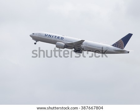 Sydney - February 26, 2016: Blue-white passenger plane Boeing 777-222 ER United Airlines taking off at the airport in Sydney February 26, 2016, Sydney, Australia