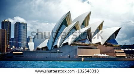 SYDNEY - FEBRUARY 12: Sydney Opera House view on February 12, 2012 in Sydney, Australia. The Opera House's a famous arts center. It's designed by Danish architect Jorn Utzon, finally opening in 1973. - stock photo