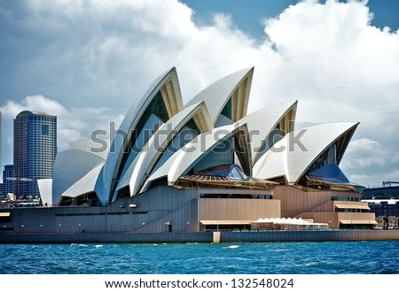 SYDNEY - FEBRUARY 12: Sydney Opera House view on February 12, 2012 in Sydney, Australia. The Opera House's a famous arts center. It's designed by Danish architect Jorn Utzon, finally opening in 1973.
