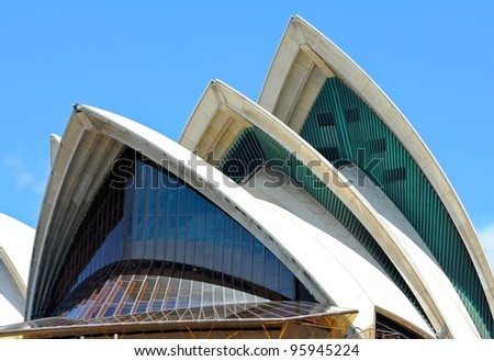 SYDNEY - FEBRUARY 12: Sydney Opera House view on February 12, 2012 in Sydney, Australia. The Sydney Opera House is a famous arts center. It was designed by Danish architect Jorn Utzon, finally opening in 1973.