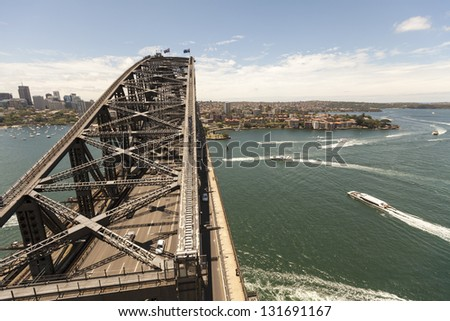 SYDNEY - FEBRUARY 2: The Sydney Harbor Bridge was open to the public in 1932. It is the fifth longest spanning arch-bridge in the world. Pictured on February 2, 2010 in Sydney, Australia NSW.
