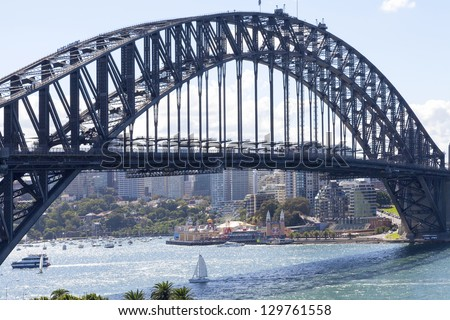 SYDNEY - FEBRUARY 2: The Sydney Harbour Bridge was open to the public in 1932. It is the fifth longest spanning arch-bridge in the world. Pictured on February 2, 2010 in Sydney, Australia NSW. - stock photo