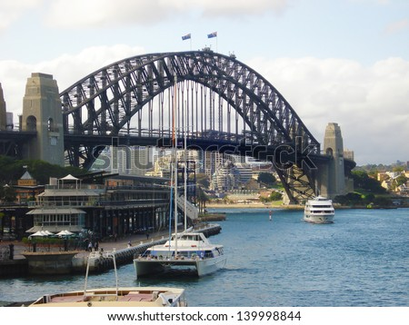 SYDNEY - FEBRUARY 16: The Sydney Harbour Bridge was open to the public in 1932. It is the fifth longest spanning arch-bridge in the world. Pictured on February 16, 2008 in Sydney, Australia NSW.  - stock photo
