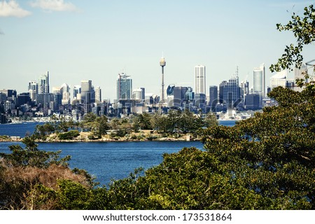 Sydney harbor and downtown buildings in Sydney, Australia.