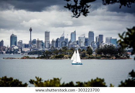 Sydney harbor and downtown buildings in Sydney, Australia. - stock photo