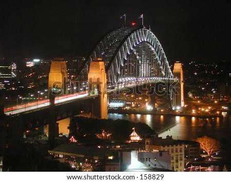 Sydney Harbor Bridge at Night - stock photo