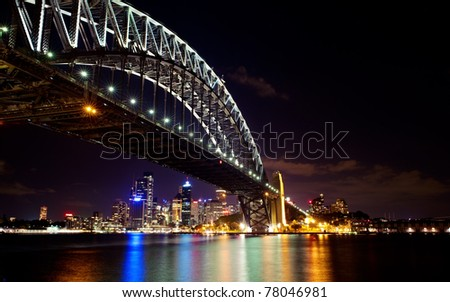 Sydney Harbor bridge night skyline.