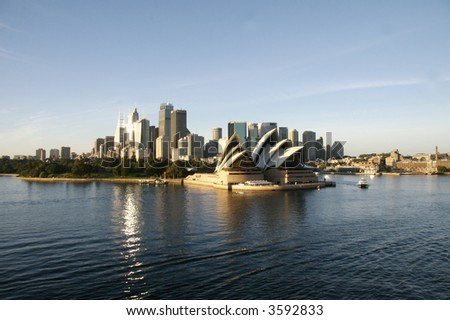 Sydney harbor/skyline/opera house - stock photo