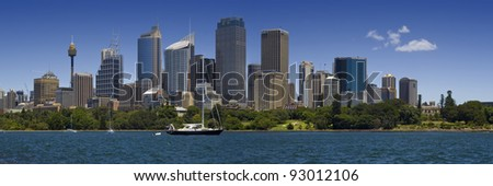 Sydney harbour and downtown panoramic view - stock photo
