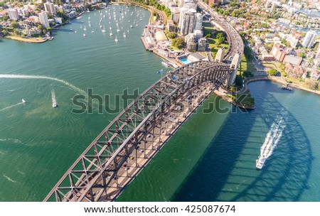 Sydney Harbour Bridge. Aerial view from helicopter on a beautiful day. - stock photo