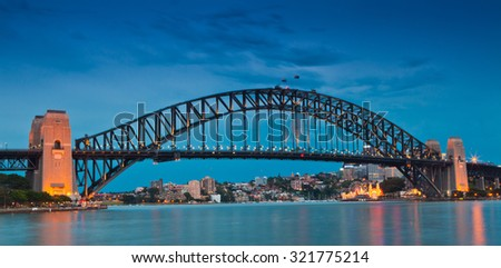 Sydney Harbour Bridge after sunset - stock photo