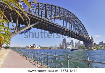 Sydney Harbour Bridge and City Skyline, Sydney Australia - stock photo