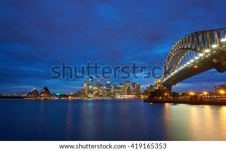 Sydney Harbour Bridge and Opera House view from Luna Park