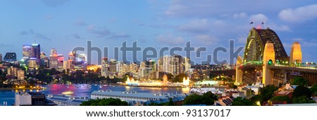 Sydney Harbour Bridge and Sydney skyline viewed from Observatory Hill - stock photo