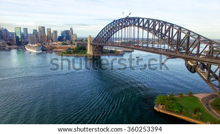 Sydney Harbour Bridge at night, aerial view. - stock photo