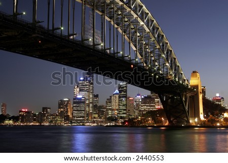 Sydney Harbour Bridge At Night, Twilight, Australia