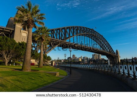 Sydney Harbour Bridge in Australia.NOV 09,2016 The Sydney Harbour Bridge is a steel through arch bridge across Sydney Harbour between the Sydney central business district (CBD) and the North Shore.